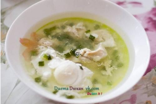 Куриный суп по-Дюкану. Куриный суп с яйцом пашот по дюкану от Натальи Шевцовой - Бородиной.