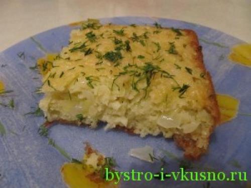 Диетический заливной капустный пирог без муки.