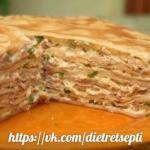 Блинный пирог с мясом и грибами по дюкану, чередование, Бо дни.