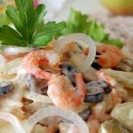 Салат с креветками, интересный вкус.
